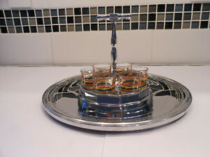 Farberware Art Deco Chrome Shot Holding Tray With Vintage Shot Glasses