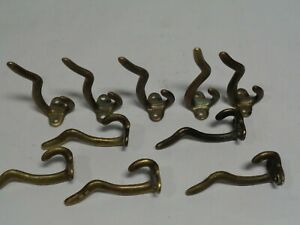 Coat Hat Hooks Solid Brass Lot Of 10 Used
