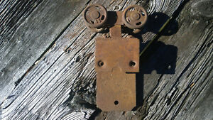 Vintage Metal Pocket Barn Door Hardware Antique Replacement Part Four Hole Wheel