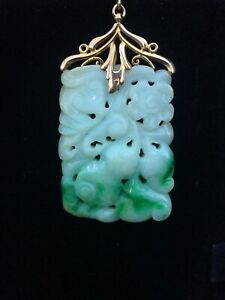 Beautiful Estate Chinese Natural Apple Green White Carved Jade Pendant 14k