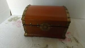Vintage Small Rustic Treasure Chest Box Genuine Leather And Wood With Brass