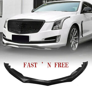 Front Bumper Lip Spoiler Cover Trim For Cadillac Ats 2015 2018 Carbon Fiber 3pcs