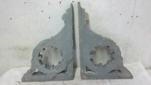 2 Antique Matching Victorian Decorative Designed Wood Corbels Old Paint