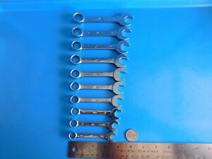 Used Mac Tools 10 Pc Metric stubby Combo Wrench Set 10mm Thru 19mm 12 Point