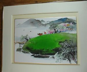 Contemporary Korean Watercolor Of Traditional Landscape
