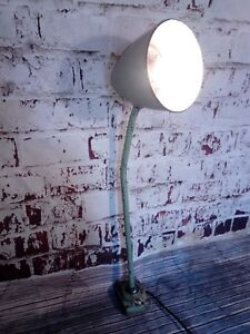 Old Industrial French Green Machinist Adjustable Desk Table Work Wall Lamp Light