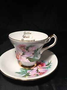 Vintage Crown Prince Fine Bone China Golden Wedding Anniversary Tea Cup England
