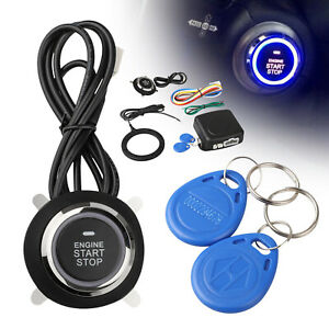 Car Ignition Switch Engine Push Keyless Entry Starter System Kit W Wire 12v Rfid
