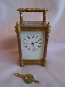 Rare Diette Hour Antique Elaborate Timepiece Carriage Clock In Gwo Key