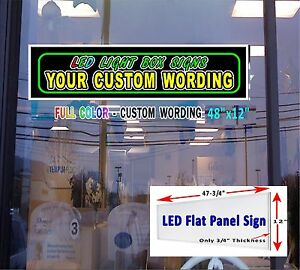Led Sign With Your Custom Wording 48 x12 Window Sign Neon Banner Alternative