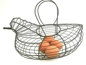 Vtg Egg Holder Primitive Wire Basket Hen Chicken Bird Metal Frame Handles 12
