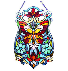 Tiffany Stained Glass Panel Victorian Butterfly Fleurs