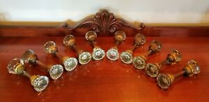 10 Sets Antique 8 Point Crystal Clear Glass Door Knobs Handle Spindles