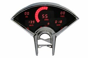 Chevy Bel Air Digital Dash Panel For 1955 1956 Gauges Intellitronix Red Leds