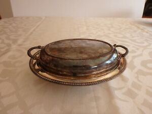 Vintage Oval Silver Plate Covered Serving Dish Vgc
