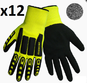 12pair Global Glove Vise Gripster Sz 8 High Visibility Cia Protective Gloves