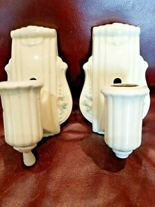 Pair Vintage Art Deco Porcelain Sconce Wall Lights Pull Chain 7