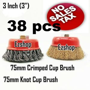 38 Wire Cup Brush Wheel 3 75mm For 4 1 2 115mm Angle Grinder Twist Crimped