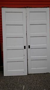 Vintage Pocket Doors 5 Foot With Track And Rollers We Ship