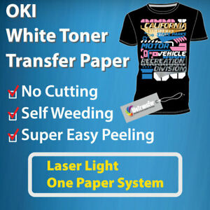 Oki White Toner Easy Peel Transfer Paper For Light Garment laser Light