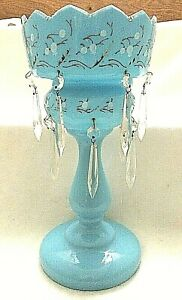 Antique Tall 13 1 2 Blue Bristol Glass Lustre Vase Double Rows Of Prisms