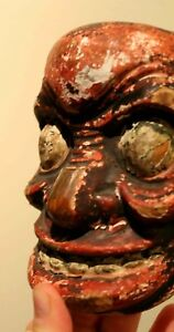 Japanese Noh Mask Real Ancient Hand Carved Wood Very Old