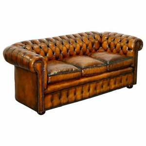 1930 S Hand Dyed Restored Whisky Brown Leather Chesterfield Club Sofa English