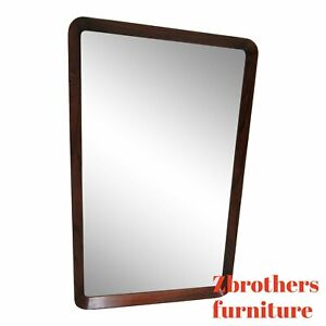 Vintage Rosewood Danish Modern Finger Joint Hanging Wall Mirror