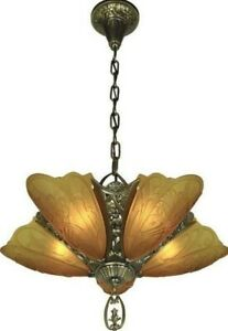 1930 S Art Deco Slip Shade Chandelier W Bronze Gilt Finish By Rejuvenation
