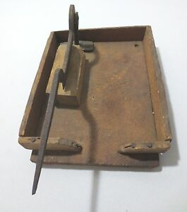 Antique Handmade Wood Iron Herb Tobacco Chicken Chopper On Tray