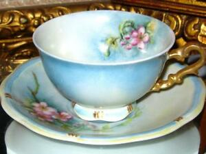 Bavaria Hand Painted Pink Blossom Tea Cup And Saucer Signed Germany