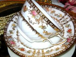 Antique Wedgewood Tea Cup Saucer Pink Rose Floral Heavy Gold Hand Painted