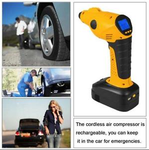 12v Portable Air Compressor Pump Cordless Tire Inflator Tyre Lcd Display Auto