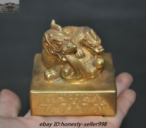 Old Chinese Palace Bronze Gilt 24k Gold Dragon Imperial Seal Stamp Signet