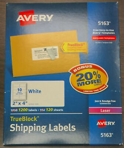 Lot Of 5 Boxes New Avery 5163 2 x4 Trueblock White Shipping Labels 6000 Count