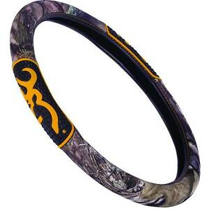 Browning Buckmark Mossy Oak Camo Steering Wheel Cover Gold Buckmark