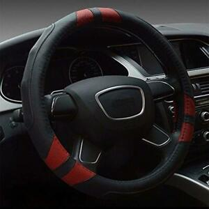 Leather Steering Wheel Cover Universal 15 Inch Black Red