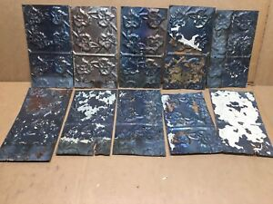 10pc Craft Lot 6 By 10 Antique Ceiling Tin Metal Reclaimed Salvage Art
