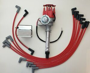 Sb Chevy 327 350 Red Small Hei Distributor Wires Over Valve Cover 60k Coil