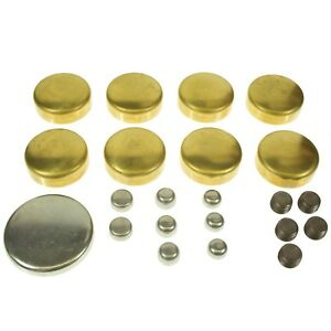 Sbc Small Block Chevy 283 327 350 383 Brass Freeze Plug Kit Melling Mpe100br