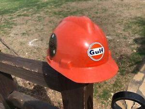 Vintage 1960s Gulf Oil Co Hard Hat Msa Safety W Liner W Stickers
