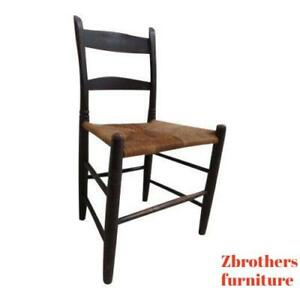 Antique Shaker Rush Seat Dining Room Side Desk Chair