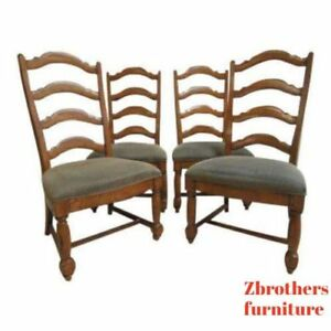4 Thomasville Country Craftsman Rustic Dining Room Ladder Back Side Chairs Set
