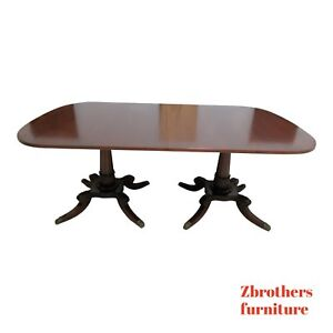 Antique Mahogany Inlay Banded French Empire Banquet Dining Table Conference