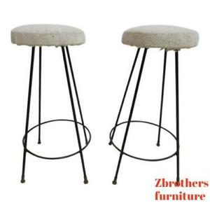 Pair Of Mid Century Hair Pin Swivel Bar Counter Stools Chairs B