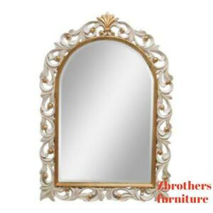 Harrison Gil Italian Carved Feather Hanging Wall Mirror