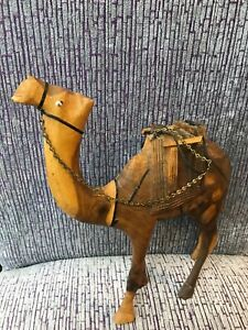 Hand Carved Wood Leather Wrapped Wooden Camel Statue