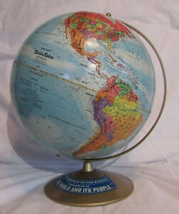 Globe Replogle Usa World Nation Series Desk Ref Rare Sticker Raised Relief Ussr