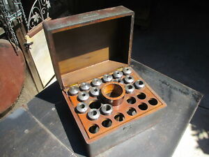15 Vintage Hendey No 6 Lathe Collets Set In Original Box No Adaptor