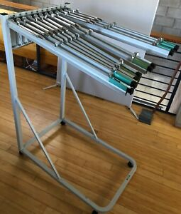 Rolling Hanging File Stand For Blueprints architectural Plans w 12 Pivot Hangers
